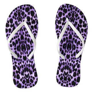 Royal Purple Leopard Print Flip Flops Thongs