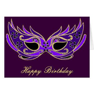 Royal purple masquerade mask card