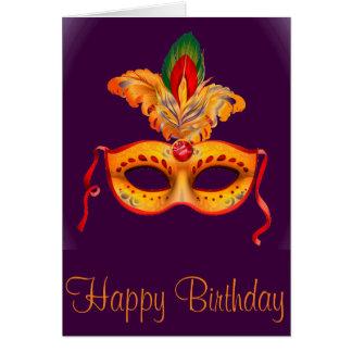 Royal purple masquerade mask mardi gras card