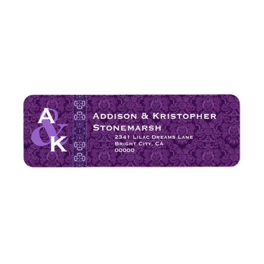 Royal Purple Monogram Damask Wedding W002 Return Address Label
