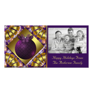 Royal Purple Ornament Christmas Photo Card
