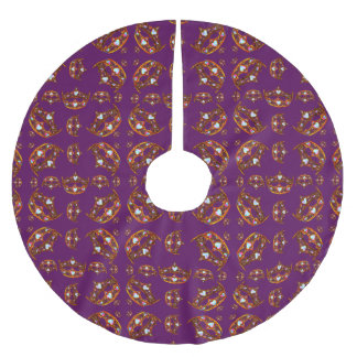 Royal Purple Queen of Hearts Gold crown tiara tree Brushed Polyester Tree Skirt
