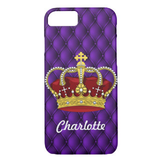 Royal Purple & Queen's Crown With First Name iPhone 8/7 Case