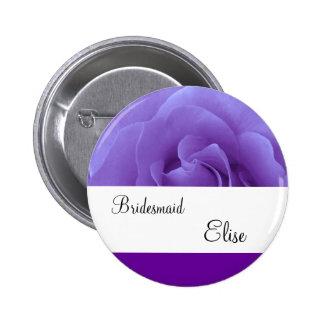 Royal Purple Rose Wedding Bridesmaid Button