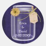 royal purple, sunflower mason jar wedding seals