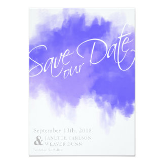 Royal Purple Watercolor Save The Date Card