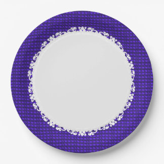 Royal-Purple-White-Lace(c) Everyday_ 9 Inch Paper Plate