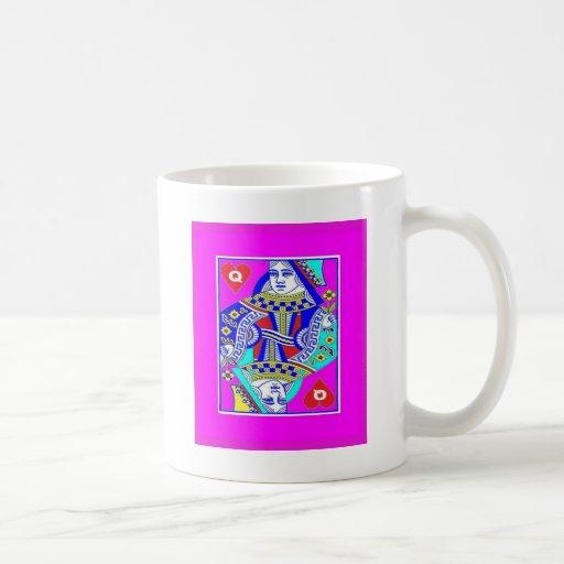 Royal Queen of Heart's in Fushia Court Coffee Mugs