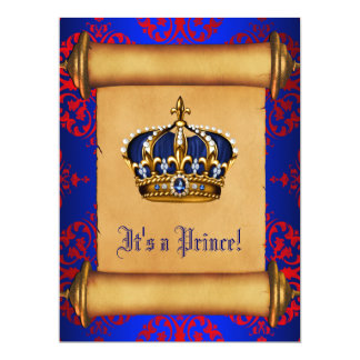 Royal Red and Blue Prince Baby Shower Invitation