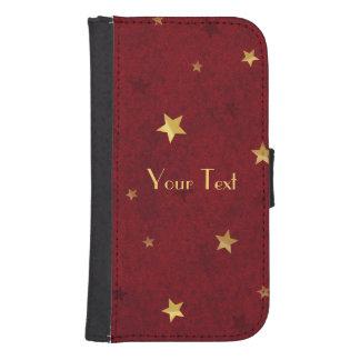 Royal Red Golden Stars Samsung S4 Wallet Case