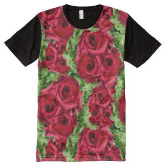 Royal Red Roses Regal Romance Crimson Lush Flowers All-Over Print T-Shirt