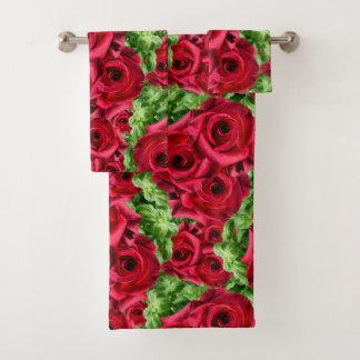 Royal Red Roses Regal Romance Crimson Lush Flowers Bath Towel Set