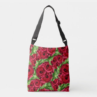 Royal Red Roses Regal Romance Crimson Lush Flowers Crossbody Bag