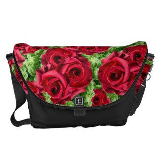 Royal Red Roses Regal Romance Crimson Lush Flowers Messenger Bag