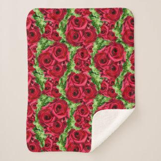 Royal Red Roses Regal Romance Crimson Lush Flowers Sherpa Blanket