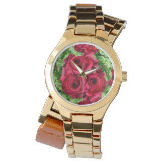 Royal Red Roses Regal Romance Crimson Lush Flowers Wrist Watch