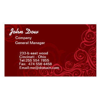 Royal Red swirls floral ORNAMENT Double-Sided Standard Business Cards (Pack Of 100)