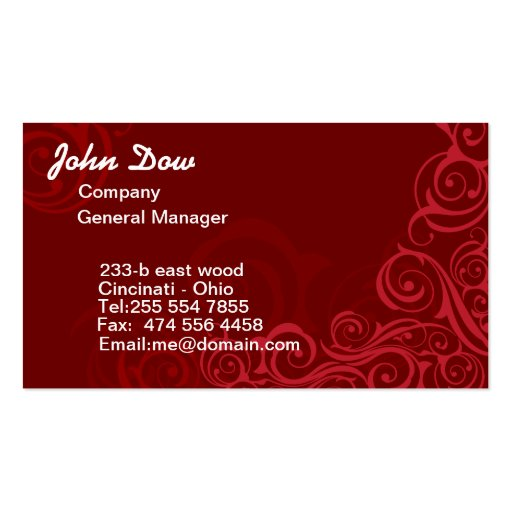 Royal Red swirls floral ORNAMENT Business Cards