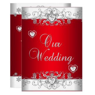 Royal Red Wedding Silver Diamond Hearts Card