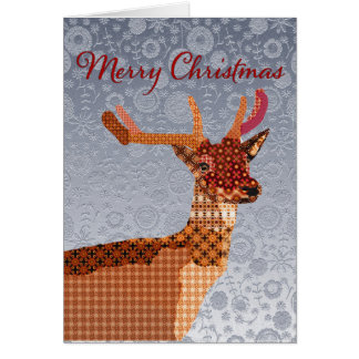 Royal Reindeer Silver Ornate  Christmas Greeting Greeting Card