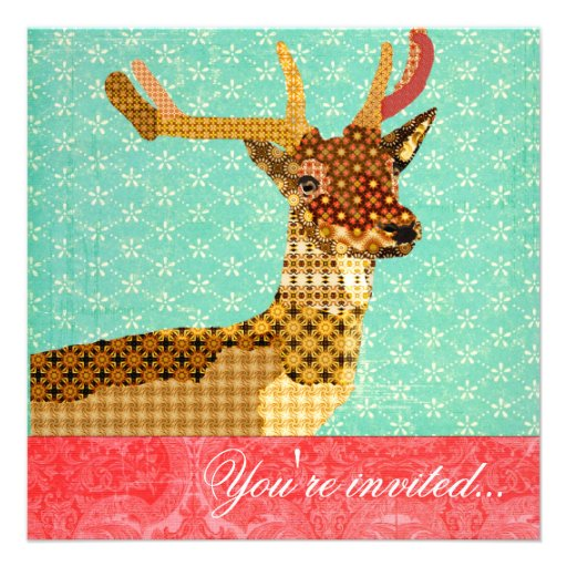 Royal Reindeer Turquoise Red Invitations