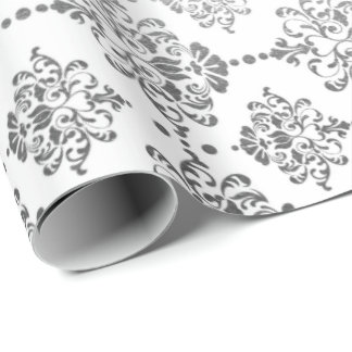Royal Silver Ornament Damask White Floral Princess Wrapping Paper