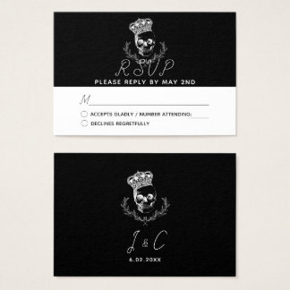 Royal Skull Wedding RSVP Business Card
