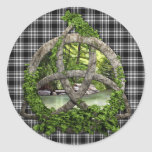 Royal Stewart Black And White Tartan Celtic Trinit Round Sticker