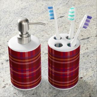 Royal Stewart Tartan Christmas Pattern Soap Dispenser And Toothbrush Holder