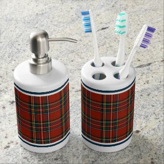 Royal Stewart Tartan Classic Red Scottish Plaid Soap Dispenser And Toothbrush Holder