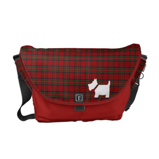 Royal Stewart Tartan & Scottie Dog Silhouette Bag Courier Bags