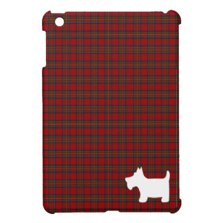 Royal Stewart Tartan & Scottie Dog Silhouette iPad Mini Cover
