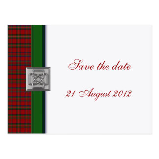 Royal Stewart Tartan with Celtic Pin Save the Date Postcard