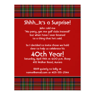 Royal Stuart Tartan 40th Birthday Party Invitation
