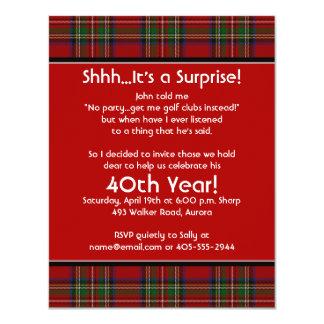 Royal Stuart Tartan 40th Birthday Party Invitation