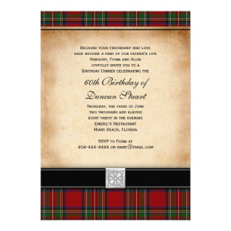 Royal Stuart Tartan 60th Birthday Party Invitation