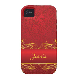 Royal Swirls of Gold On Red iPhone 4/4S Covers