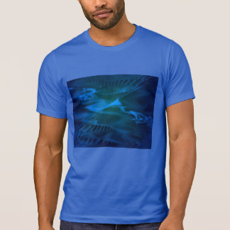 Royal T-Shirt with Blue Digital Abstract Seascapes