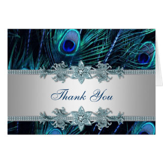 Royal Teal Blue Peacock Thank You Cards