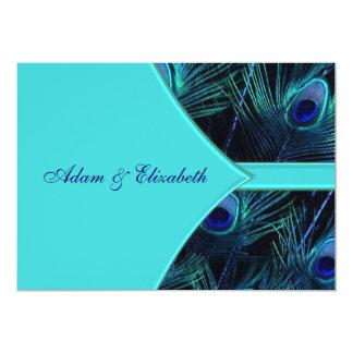 Royal Teal Blue Peacock Wedding Invitations