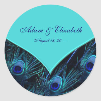 Royal Teal Blue Peacock Wedding Round Stickers