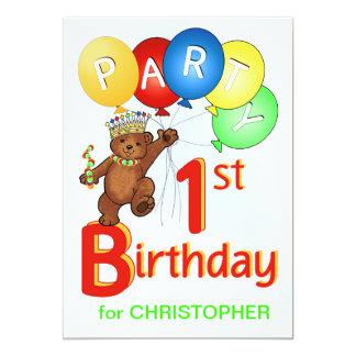 Royal Teddy Bear 1st Birthday Party Custom Invites