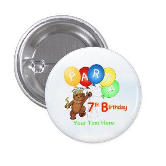 Royal Teddy Bear 7th Birthday Party Pinback Button