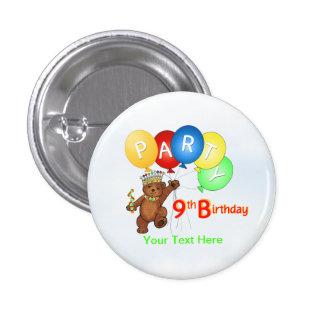 Royal Teddy Bear 9th Birthday Party Button