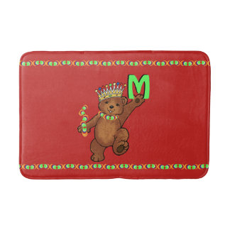 Royal Teddy Bear Monogram Bath Mat