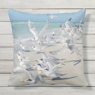 Royal Tern Beach Birds Design Throw Pillow