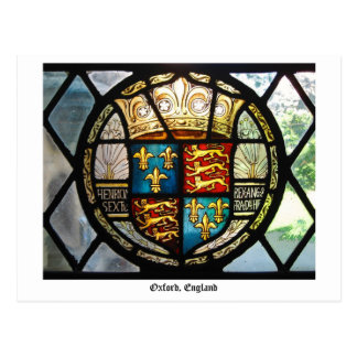 Royal Tudor Coat of Arms Stained Glass Oxford, UK Postcard