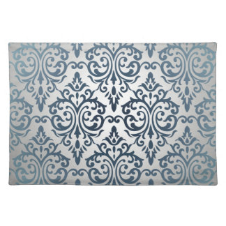 Royal,vintage,silver,teal,damask,victorian,chic Cloth Placemat