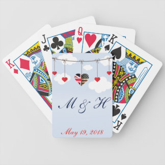 Royal Wedding British and American flag hearts Bicycle Playing Cards