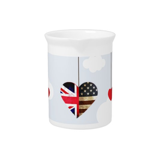 Royal Wedding British and American flag hearts Pitcher